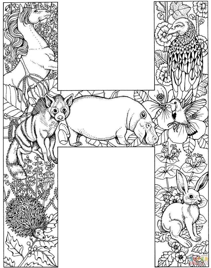 Letter H with Animals coloring