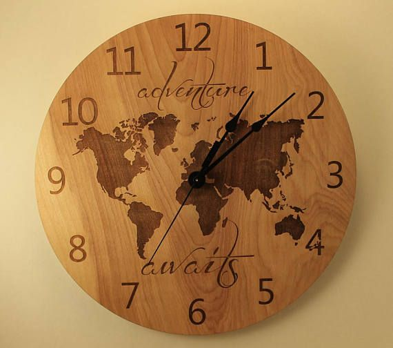 34 best wood clocks plywood images on pinterest clock wall adventure awaits clock wood clock wall clock wooden wall clock plywood clock laser cut world map laser engraved travel the world clock gumiabroncs Choice Image