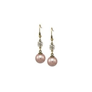 Pearl Drop Earrings with Swarovski Crystals in Dusky Pink wedding girl womens accessory bridal