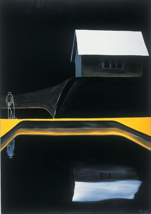 László Fehér (Hungarian, b.1953) - Water, House, Man (1989) - oil on canvas, 200 x 140 cm