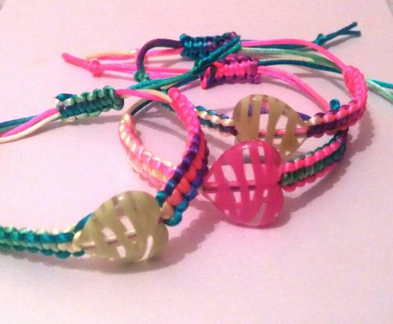 Neon multicolour macrame bracelets with big by personal2treasures