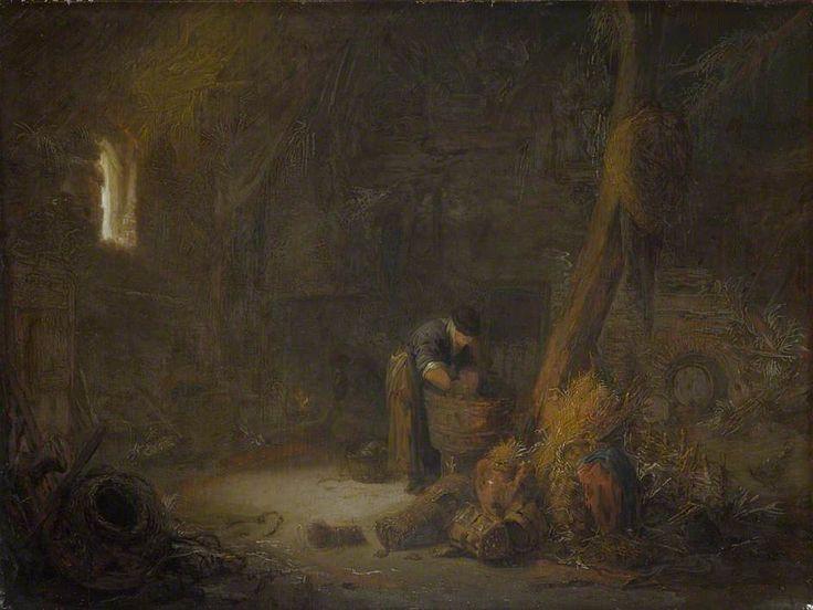 Isaac van Ostade - Het interieur van een schuur met twee boeren