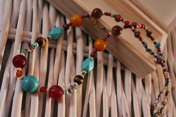 Semi precious stones handmade necklace is now available in my Etsy store #handmade #jewelry #necklace #beaded #precious #stones #boho #bohemian #blue #colorful #etsy #shop