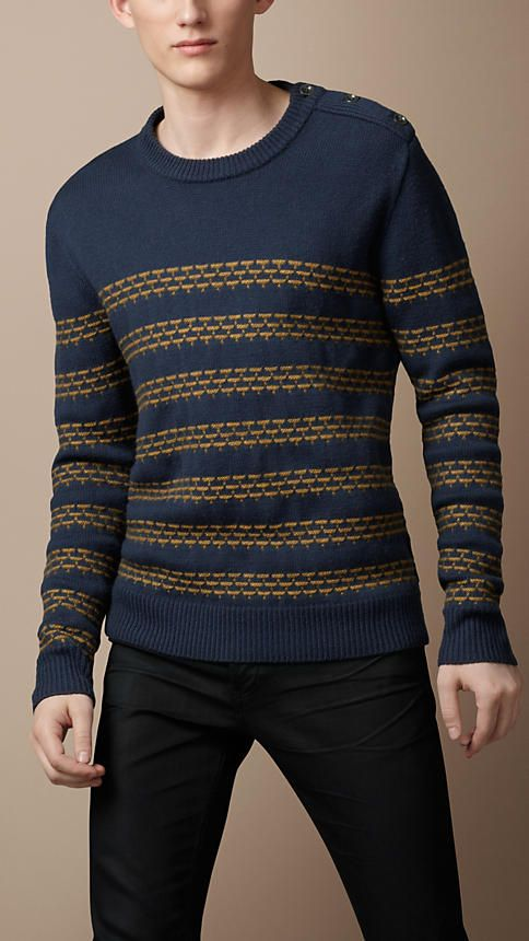 Textured Stripe Wool Sweater