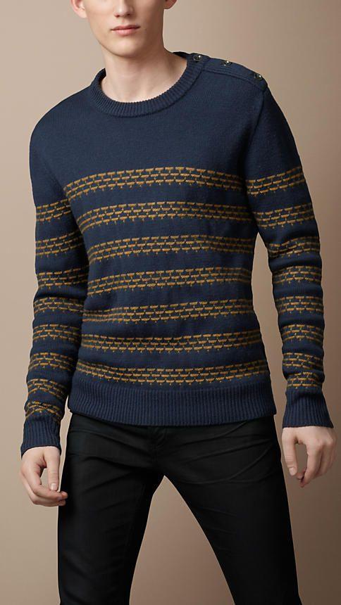 Textured Stripe Wool Sweater | Burberry