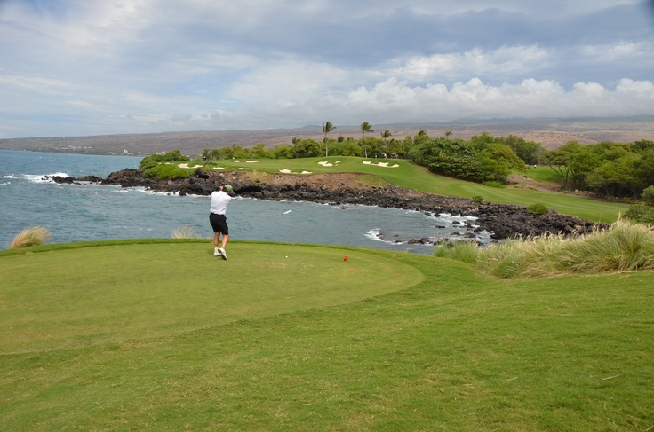 The third hole at Mauna Kea golf course, Big Island of Hawaii. Most photographed hole in Hawaii. 180 yards par 3. All carry. Windy. I hit the green and three putted.