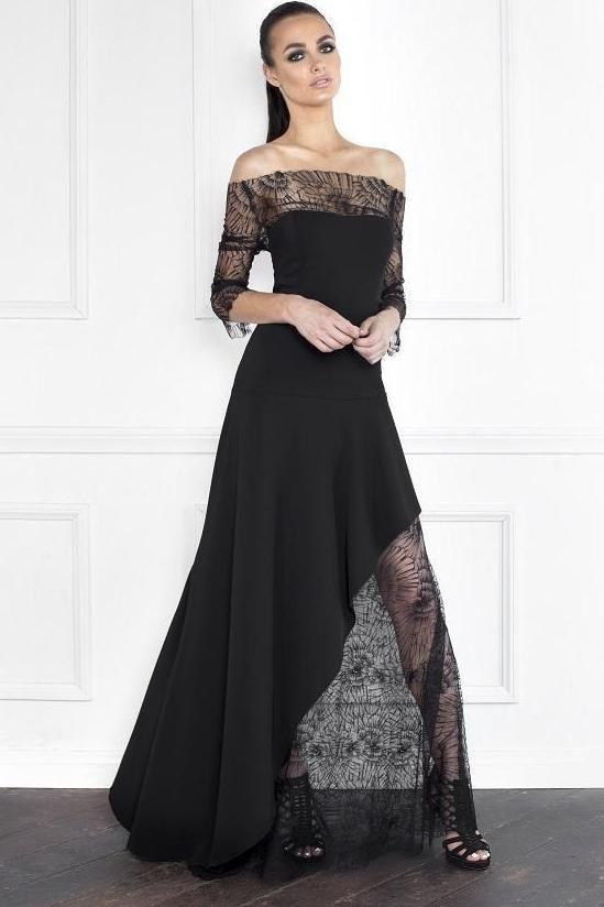 25e8708e20 Nicole Bakti Half Floral Lace Asymmetrical Gown in 2019