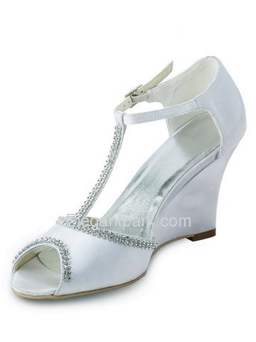 Open Toe Wedge Beading Buckle Satin Wedding & Party Shoes