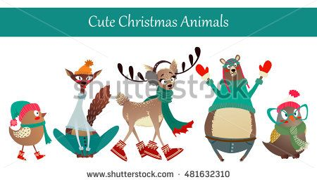 Cute Merry Christmas Animal Set: Birds, Bear, Deer, Cat. Colorful Animals…