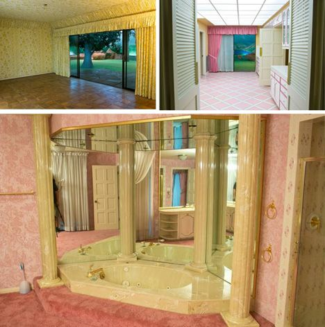 It may look like the 1970's, but this underground bunker home in Las Vegas would make a perfect home! bunker house interior night