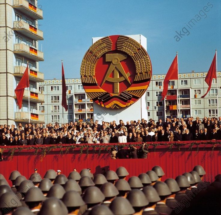 East Berlin, 6/7 October 1979. Celebrations for the 30th anniversary of the founding of the GDR. Parade of honour of the National Peoples's Army in Karl-Marx-Allee: View of the VIP stand with Erich Honecker and Leonid Brezhnev.