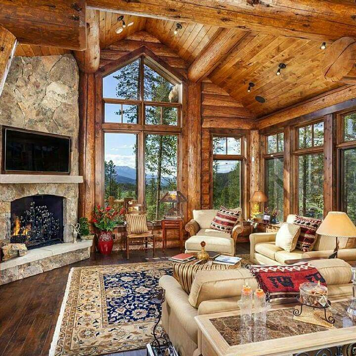 log home decor mountain homes log home interiors log cabin - Living Home Decor