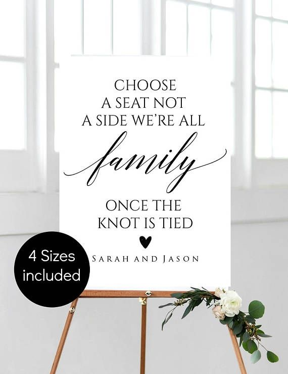 Choose a Seat not a Side Sign Printable Wedding Ceremony