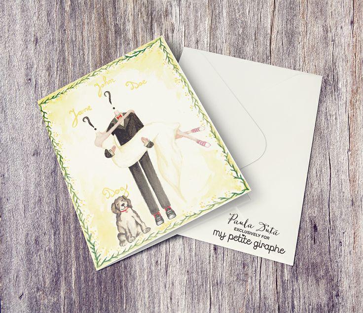 You are the next? Custom wedding invitation. Unique, hand painted, portrait of the couple! Paula Duță exclusively for My Petite Giraphe  #nunta #invitatii #invitatiinunta #mireasa #wedding #weddingday #art #watercolor #portrait #organizarenunta #targnunti #bride #bridetobe #invitation #weddinginvitation #weddinginspiration #paint #weddingstationery #brideideas #weddingideas #photooftheday #illustration #illustrator #handmade #artist #design #designer