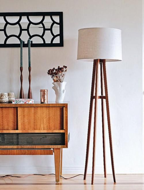 Made-to-order midcentury-inspired floor lamps in solid walnut —straight from designer Kylle Andrew's San Diego Studio. #etsyfinds
