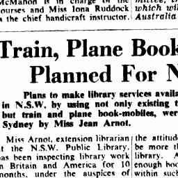 Sydney Morning Herald (01 Mar 1949)  - Train, Plane Book-mobiles Planned For N.S.W.