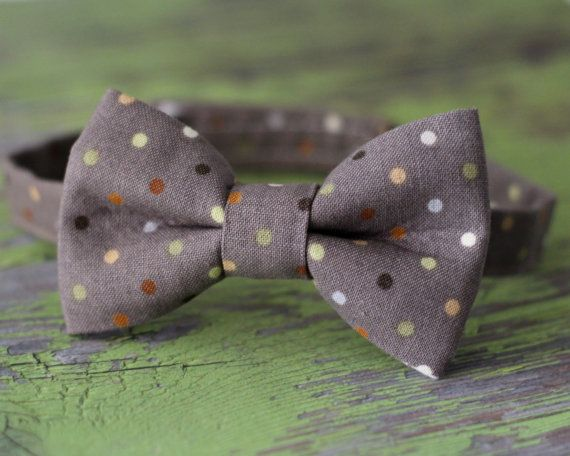 Gray Dotted Bow Tie