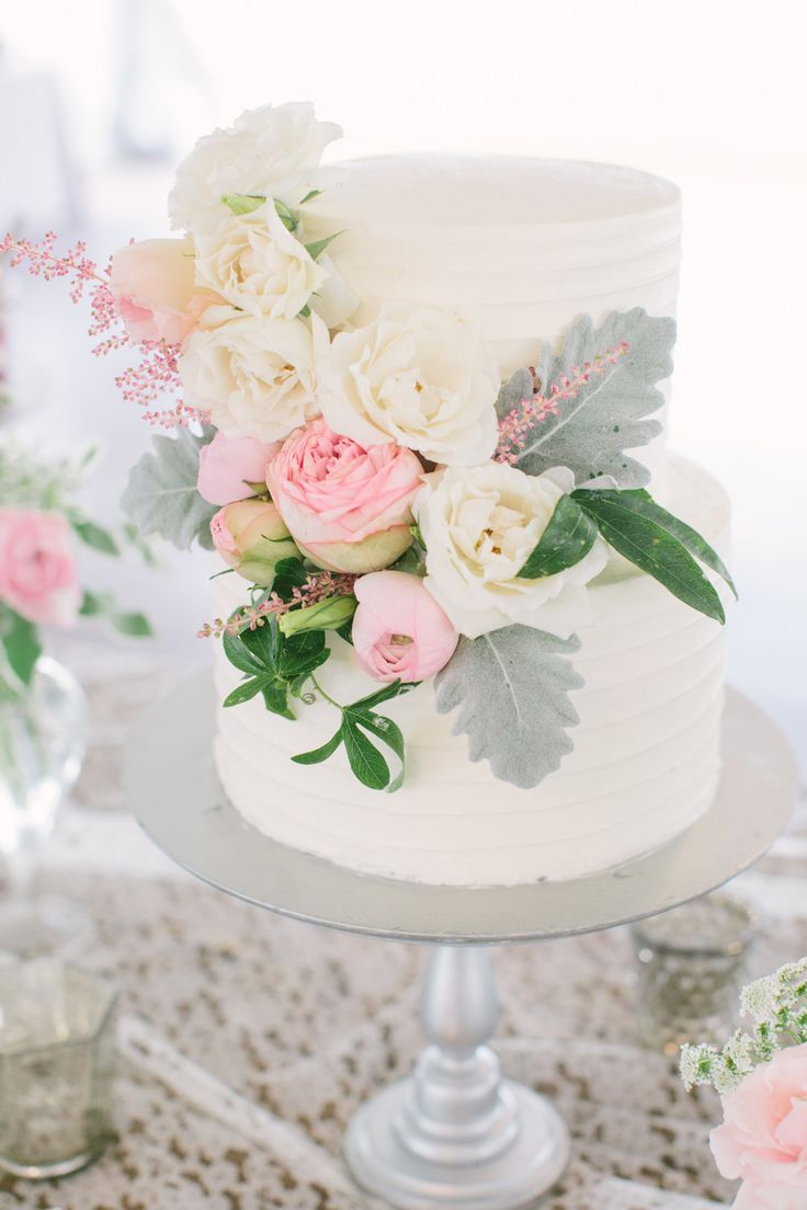 Small white wedding cake, romantic, white and pastel pink florals, silver cake stand // Taylor Rae Photography