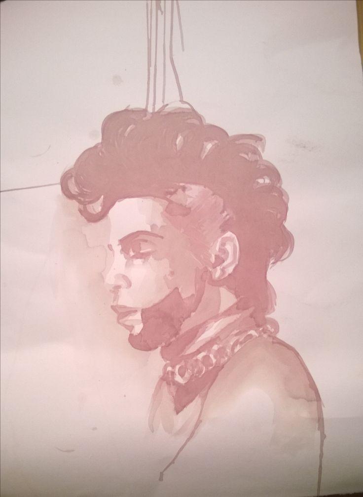 Prince portrait with red wine 50x70 cm now available --- ritratto di Prince dipinto con vino rosso 50x70 cm 2016 ora on vendita #art #arte #acquerello #watercolor #wine #Italy #redwine #vino #vinorosso #Prince #slowfood