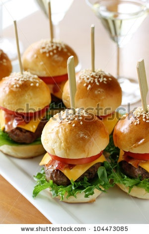 stock photo : mini hamburgers, mini burgers, party food, finger food