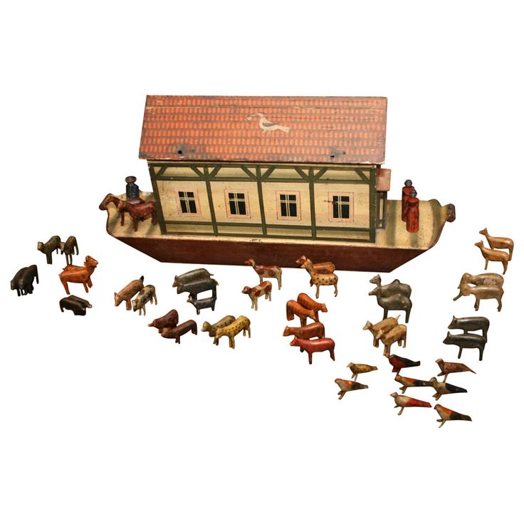 19th c. Hand-Carved and Painted Noah's Ark Set