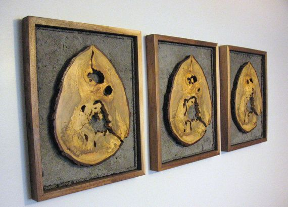 Wood & concrete wall hangings by VirginiaBirchfield on Etsy, $350.00