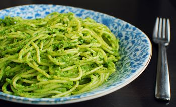 Hazlenut basil pesto. Kate recommends it with tomatoes and goat cheese. Yum!