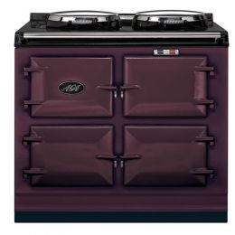Talk about luxury.  This free standing electric cooker looks modern and old-school at the same time.  It has 2 hotplates, 3 ovens, a touch-screen and a remote control!  AGA atceev3os40aub