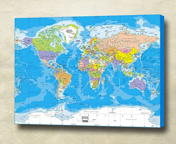 26 best world maps images on pinterest world maps bedrooms and world map gallery wrapped canvas print ready to hang gumiabroncs Image collections