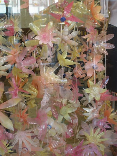 flowers made from recycled plastic bottles