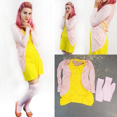 Here's an outfit inspired by Fluttershy! We wanted a look that was soft and innocent for this pony, so we chose a pastel pink cardigan with a floral back, a simple yellow dress, and pastel pink thigh-highs. Quick and easy cosplay! Check out all these items and more on our site! Fishnetunderground.com #cosplay #fluttershy #mlpfim #mylittlepony #costume #halloween #conventions #costumeonabudget