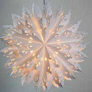 "24"" White Winter Wreath Snowflake Paper Star Lantern, Hanging (Light Not…"