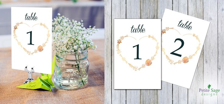 Printable Wedding Table Numbers 4x6, Elegant Floral Chic Garden Wedding Template, Vintage Heart Shape Gold Table Numbers 1-30, Instant Download
