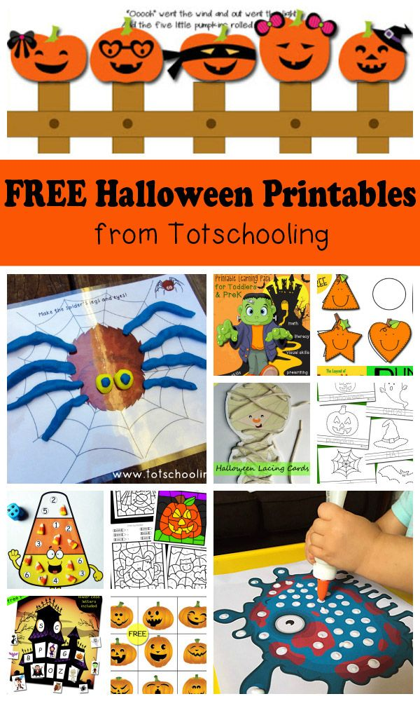 FREE Halloween printables for toddlers, preschool and kindergarten. Large collection of activities featuring math, literacy, playdough mats, tracing, lacing cards, games, packs, coloring, matching and more!