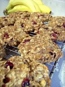 Breakfast banana oatmeal cookies, NO egg, flour, or sugar!! (*dried cranberries add a bit of sugar if you add them)