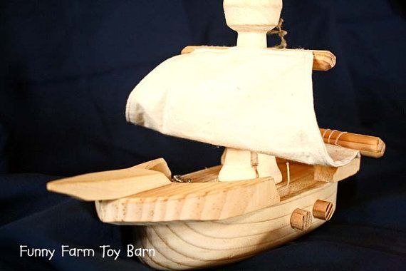 Toy Boat Children's Pirate Ship Natural Wooden by FunnyFarmToyBarn, $50.00