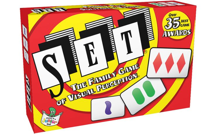 SET is a board game where any table becomes your board! Race to find a SET of three cards where each feature is either all the same or all different on each card. With no turns and no luck, SET is challenging, fast and fun!