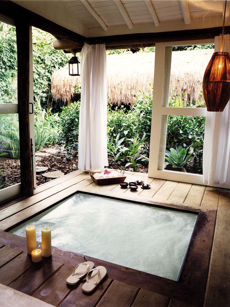 indoor/outdoor Jacuzzi at Casa Uxua Hotel in Trancoso #brazil #beach