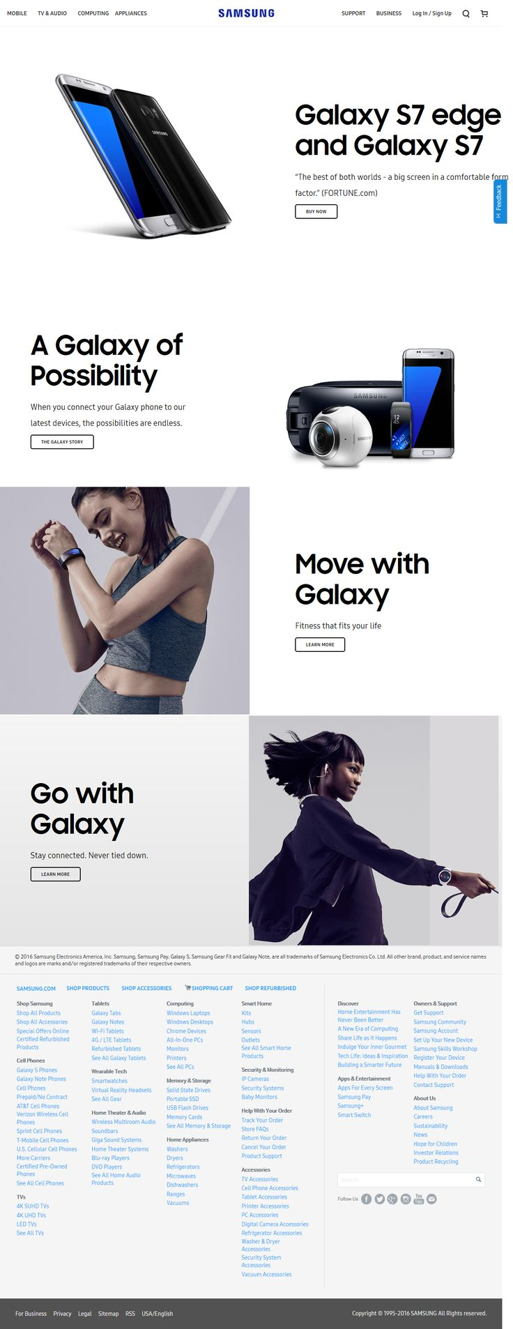 Samsung website in 2016