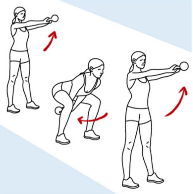 Estos seis ejercicios adelgazan más que correr - <strong>'SWING' DE KETTLEBELLS </strong> El balanceo con pesa rusa endurece glúteos, piernas, tronco y brazos mientras hace latir a tope el corazón, potenciando el efecto 'quemagrasa'. Debe cuidarse mucho la técnica para no sobrecargar la zona lumbar.