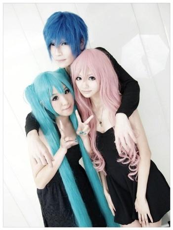 Luka Megurine, Kaito and Miku Hatsune cosplay