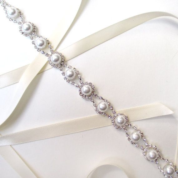 Romantic Pearl and Rhinestone Bridal Belt Sash in by GetNoticed, $40.00