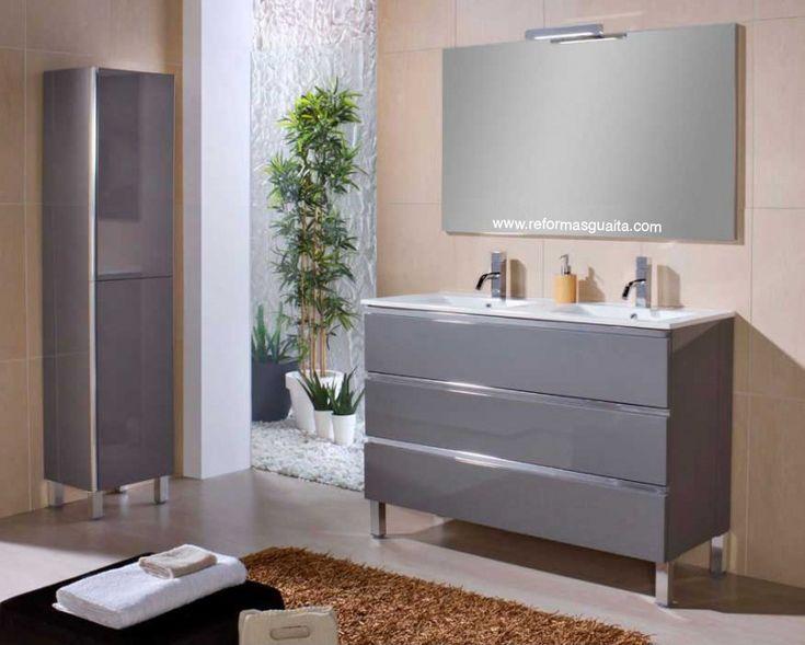 Mueble de ba o mab con 2 lavabos a buen precio acabado for Muebles de cuarto de bano grandes