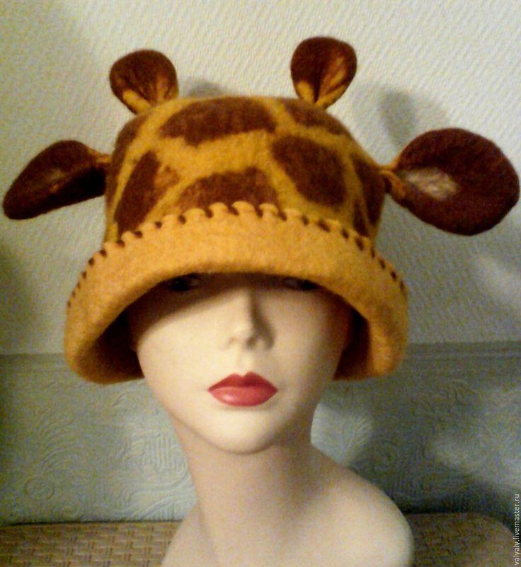 Купить Банная шапка валяная Жирафик - желтый, звериная расцветка, жираф, шерсть, шерсть для валяния