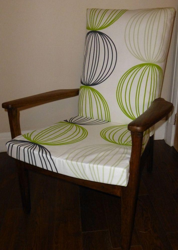 Retro Parker Knoll armchair reupholstered in Kiwi Orbital fabric