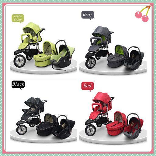 Stroller Car SeatNewborn Pram 3 Wheels Baby In 1Pushchair StrollerBaby Carrier SetCarrycot BassinetCar Seat