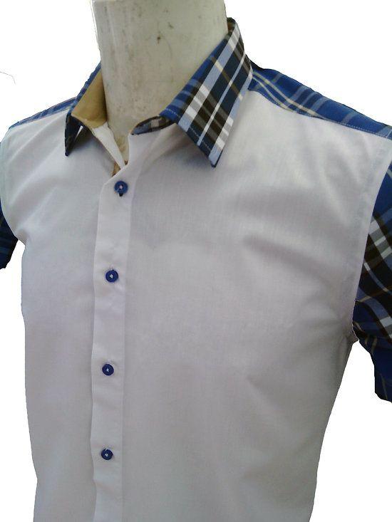 chemisette homme cintrée blanche à carreaux bleus