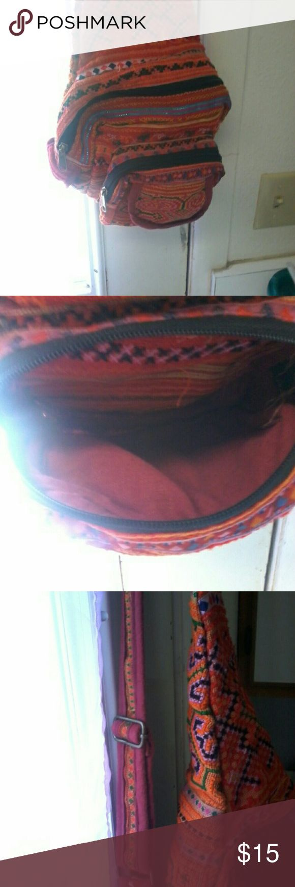 orange india motif crossbody purse orange crossbody vag,.,in excellent shape...picturs show..medium.. no holes, marks or tears,  hard to tell has been used.. Bags Crossbody Bags
