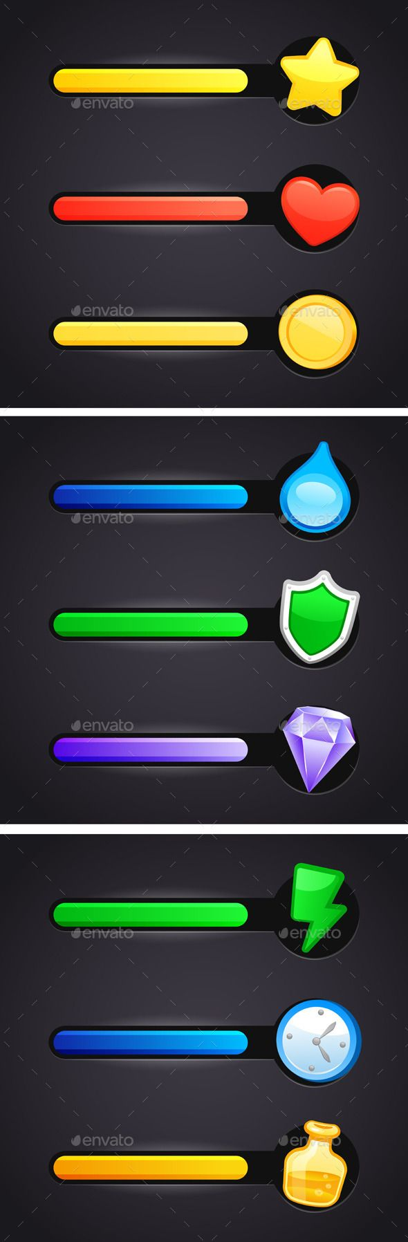 Game Icons And Resource Bar Set by Teneresa Game icons and resource bar set. Editable vector set. EPS 10. All the design elements can be recolored and resized. Layered PNG, P