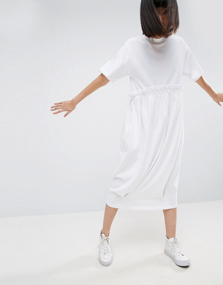 ASOS WHITE Contrast Frill Jersey T-Shirt Midi Dress - White